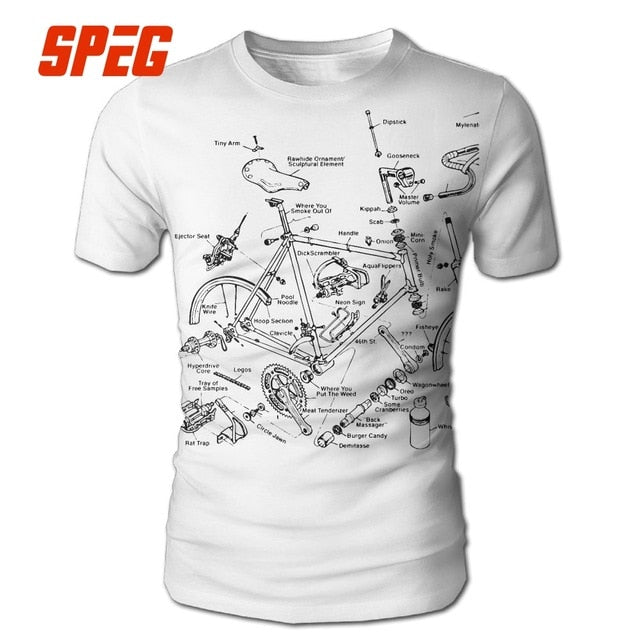 SPEG Bicycle Biker Printed Funny T-Shirt Polyester
