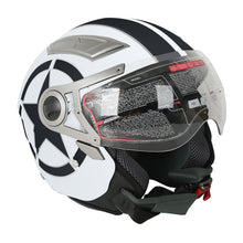 Load image into Gallery viewer, DOT White Star 3/4 Open Face Dual Visor Motorcycle Helmet