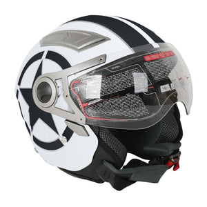DOT White Star 3/4 Open Face Dual Visor Motorcycle Helmet