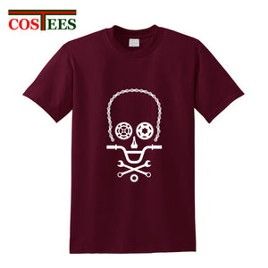 Funny Skull design BMX biker parts T Shirt Men Bicycle Cycling