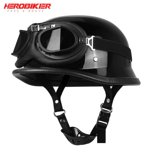 HEROBIKER Motorcycle Helmet German Leather Style Vintage Motorcycle Open Face Retro