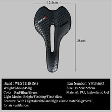 Load image into Gallery viewer, WEST BIKING Waterproof Bike Saddle with Tail Light MTB Bike Cycling Saddles