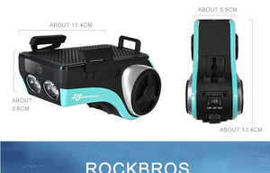 ROCKBROS Bike Head Light Cycling Waterproof Bell Multifunction