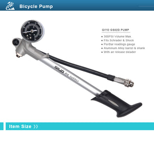 GIYO 300PSI Air Supply Inflator Bicycle Pump To Inflate Fork Shock Fits Schrader - Bike-Moto