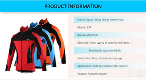 ARSUXEO Fleece Thermal Cycling Jacket Autumn Winter - Bike-Moto