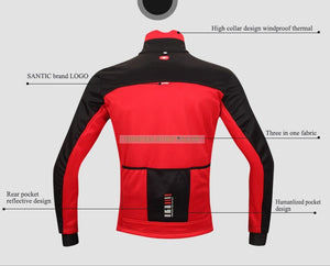 Santic Winter Cycling Jacket Windproof Warm Thermal Fleece