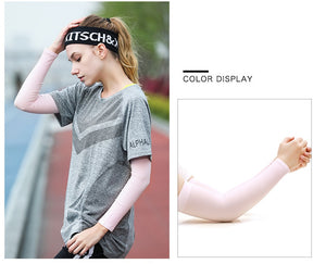 Ice Fabric Arm Sleeves Mangas Warmers Summer Sports UV Protection - Bike-Moto