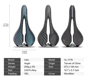 Velo Brand Bike Saddle For Racing Ti-Alloy Gel Bicycle Saddle Lightweight