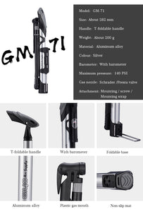 GIYO Cycling Bicycle Pump140 PSI MTB Foldable Bike Ball Aluminum - Bike-Moto