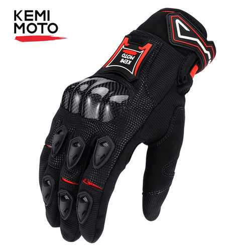 KEMiMOTO Carbon Fiber Motorcycle Gloves Breathable Touch Screen