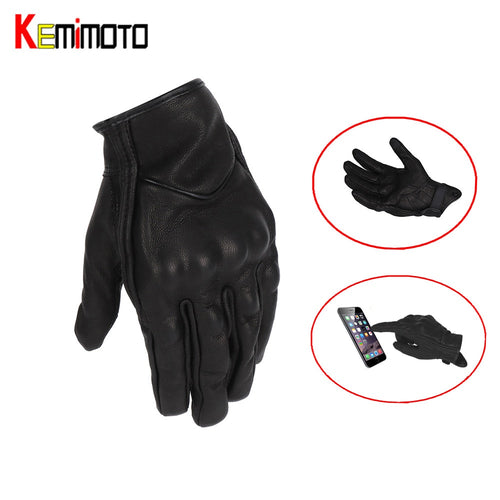 KEMiMOTO Leather Motorcycles Gloves Touch Screen Men Women