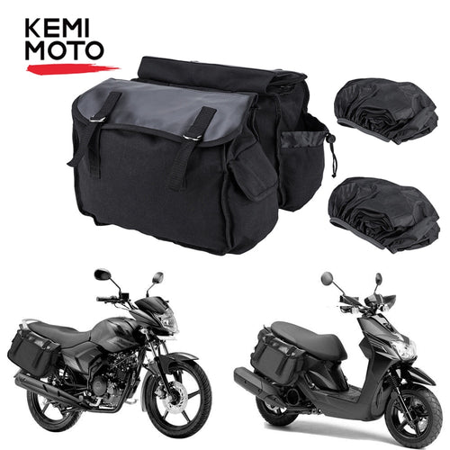 KEMiMOTO Motorcycle Saddlebag Rear Seat Bag Luggage Bag
