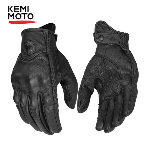 KEMiMOTO Real Leather Motorcycle Gloves Touch Screen Moto