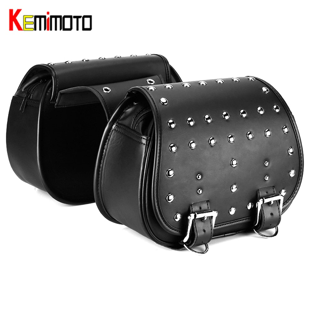 KEMiMOTO Saddle Luggage Bags PU Leather Travel Bag For Softail