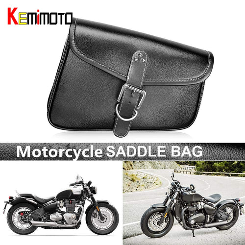 KEMiMOTO Waterproof Leather Saddle bags Swingarm Side Bag