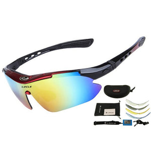 LOCLE Professional Cycling Eyewear UV400 Polarized Cycling Glasses