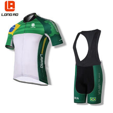 Load image into Gallery viewer, LONG AO Brazil team Summer short sleeve Mens  Cycling jerseys sets