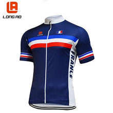 Load image into Gallery viewer, LONG AO  France cycling team blue mens cycling jersey short sets