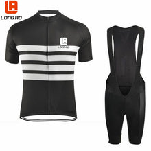 Load image into Gallery viewer, LONG AO Summer Black Pro Team Short Sleeve Cycling  Jersey