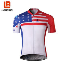 Load image into Gallery viewer, LONG AO USA Men&Womens Cycling Jersey Set Short Sleeve United States
