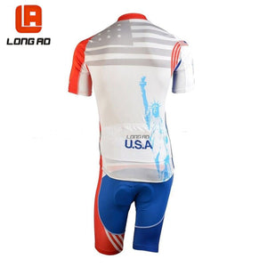 LONG AO USA Men&Womens Cycling Jersey Set Short Sleeve United States