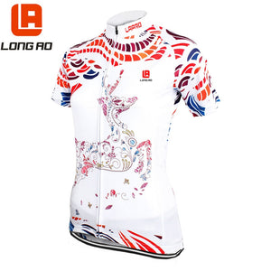 LONG AO Women Cycling Jersey Breathable Short Sleeve Jersey