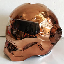Load image into Gallery viewer, MASEI 610 electroplate Bronze plating Chrome IRONMAN Iron Man helmet motorcycle helmet half open face