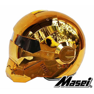 MASEI 610 electroplate Bronze plating Chrome IRONMAN Iron Man helmet motorcycle helmet half open face