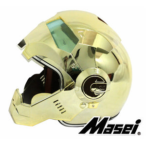 MASEI 610 electroplate Gold plating Chrome IRONMAN Iron Man helmet