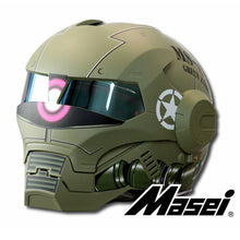 Load image into Gallery viewer, MASEI Matte Dumb Green Zach NEW style 610 motorcycle helmet IRONMAN Iron Man helmet