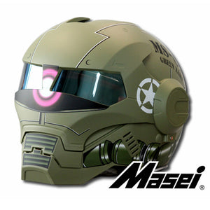 MASEI Matte Dumb Green Zach NEW style 610 motorcycle helmet IRONMAN Iron Man helmet