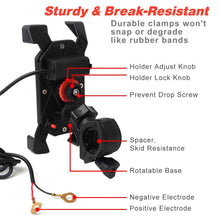 "Load image into Gallery viewer, Motorcycle Phone Mount Holder USB Charger Port for iPhone plus Stand 7/8"" Handlebar"