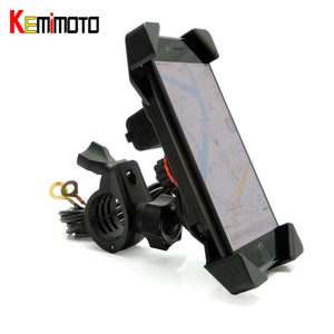 "Motorcycle Phone Mount Holder USB Charger Port for iPhone plus Stand 7/8"" Handlebar"