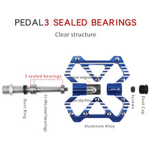 Load image into Gallery viewer, CXWXC Bicycle Flat Pedals Aluminum Alloy Cycling Anti-skid 3 Bearings