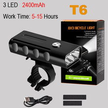 Load image into Gallery viewer, NEWBOLER 5200mAh Bike Light Kit T6 L2 Flashlight For Bicycle 2400 Lumen Led