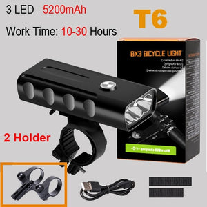 NEWBOLER 5200mAh Bike Light Kit T6 L2 Flashlight For Bicycle 2400 Lumen Led