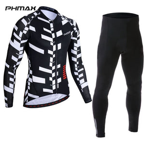 PHMAX 2019 Long Sleeve Bib Cycling Set Autumn MTB Bicycle Cycling Clothing