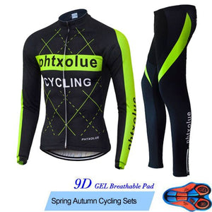 Phtxolue Long Sleeve Cycling Set Mountain Bike Clothing Autumn