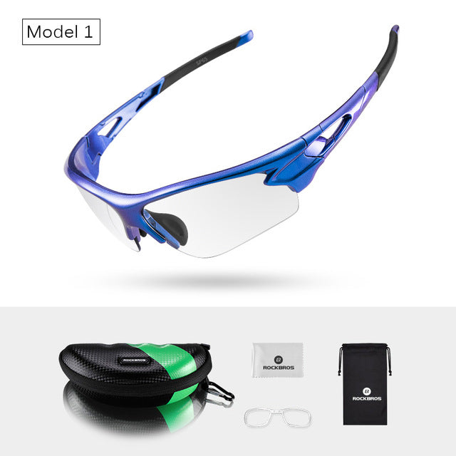 ROCKBROS Bike Photochromic Glasses Unique Gradient Frame Hiking Driving Cycling