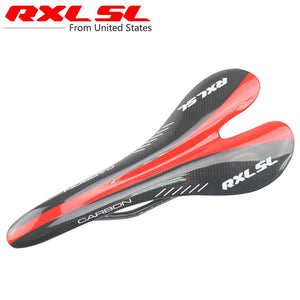 RXL SL Bicycle Saddle Carbon Saddle 3K Glossy MTB Saddle Ultralight Red Cycling