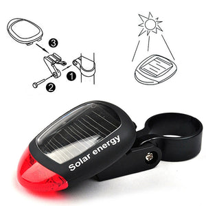 Solar Powered Bike Light LED Rear Flashing Tail Light