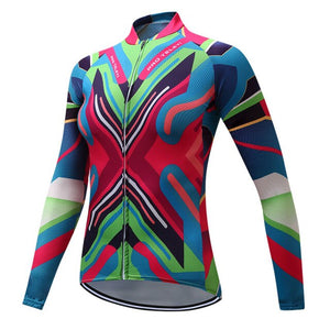 Teleyi Spring/Autumn 100% Polyester Cycling Jersey Long Sleeve