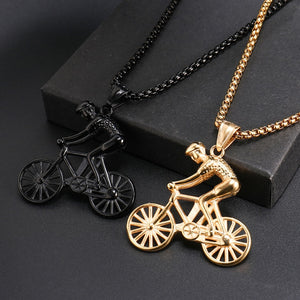 US7 Bike Pendant men Necklace Stainless Steel Cycling Necklace  Charms Body