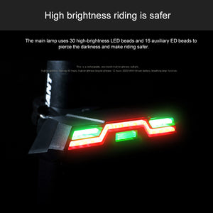 USB Bike Safety Taillight 3 Colors Bicycle Rear Lamp with Built-in 2000MAH