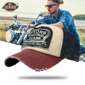 Vintage Washed Denim Cotton Distressed Motorcycle Caps