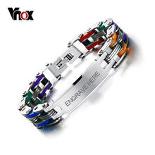 Load image into Gallery viewer, Vnox Men's Personalized Engrave Bike Bracelet Fashion Colorful Stainless