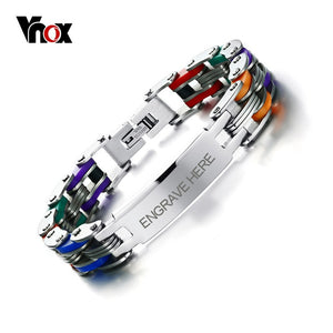 Vnox Men's Personalized Engrave Bike Bracelet Fashion Colorful Stainless
