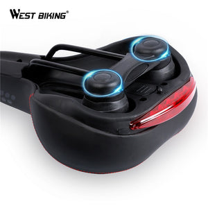 WEST BIKING Bicycle Saddle with Tail Light Thicken Widen