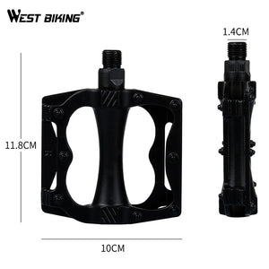 WEST BIKING Bike Aluminum Alloy Plastic Pedals Durable Hollow