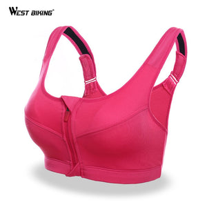 WEST BIKING Front Zipper Removable Pads Fitness Sports Bra